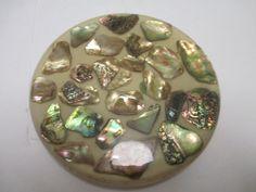 Vintage Lucite Resin  Abalone Shell Trivet Hot Plate