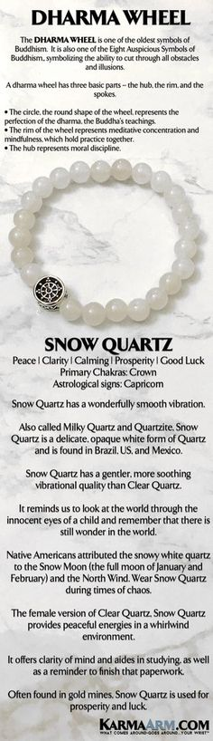 BoHo Yoga Beaded Bracelets | Reiki Meditation Jewelry. Dharma Wheel Buddhist Bracelet. The female version of Clear Quartz, #Snow #Quartz provides peaceful energies in a whirlwind environment.    . #MensBracelets #MensJewelry #Bracelets #BEADED #Yoga #Jewelry #gifts #Chakra #Reiki #Healing #Gifts #Buddhist #Love #Mantra #Mala #Meditation #prayer #mindfulness #wisdom #CrystalEnergy #EckhartTolle #GiftsForHim