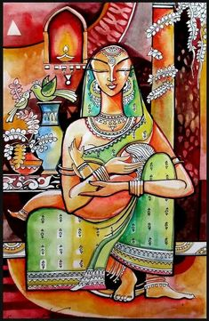 35 Easy Madhubani Art And Paintings For Beginners - Painting Madhubani Art, Madhubani Painting, Indian Folk Art, Indian Artist, Indian Art Paintings, Indian Artwork, Krishna Art, Krishna Painting, India Art