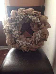 "My first Burlap wreath!!!!! I love it. Do do Buy a 12"" wire wreath(WR) and about 4 roles of burlap 2"" wide or 3 roles 5"" wide and pipe cleaners. Tie burlap to WR pull burlap through 1st bottom loop from underneath then repeat to the middle and too loop. Alway pulling from the back or WR. Repeat bunching together to make it how you want it tying when needed. And add whatever items or ribbon other colors you want."