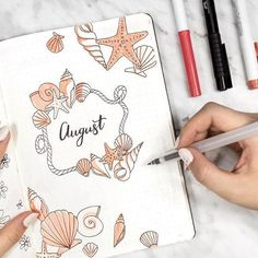 Bullet Journal: August Cover Page Bullet Journal August, Bullet Journal Monthly Spread, Bullet Journal Notes, Bullet Journal Aesthetic, Bullet Journal Notebook, Bullet Journal School, Bullet Journal Ideas Pages, Bullet Journal Inspiration, Journal Pages