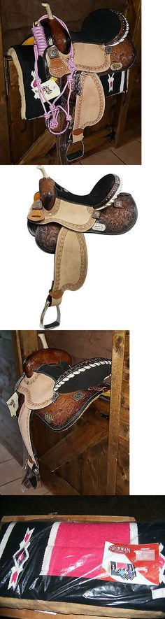 Saddles 47291: 15 Double T Barrel Saddle With Barrel Racing Conchos + Saddle Pad + Tack -> BUY IT NOW ONLY: $395 on eBay!