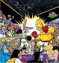 Homer Simpson, Old Cartoons, Classic Cartoons, Funny Cartoons, Bugs Bunny, Cartoon Crossovers, Cartoon Characters, Les Looney Tunes, Desenhos Cartoon Network
