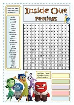 Two exercises either to introduction or reinforce some adjectives that describe our feelings. I have chosen this amusing and educational movie, inside out, in order to draw my teenagers attention, above all, the attention of weaker-learners. Key included.It has been planned to complement this one:https://en.islcollective.com/resources/printables/worksheets_doc_docx/inside_out_-_feelings_and_emotions/feelings-emotions/83642 - ESL worksheets