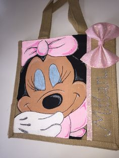 Minnie Mouse jute bag by Dollface Bowtique x