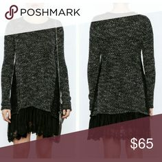 NWT Ryu Charcoal & Black Lace Sweater Dress/Tunic Lovely charcoal and black lace sweater dress/tunic. This is a very flattering design and looks great with leggings, skinny jeans, or layered with skirts. Ryu is a popular brand with Modcloth and Anthropologie. All of my items come from a pet and smoke-free home.  No trades, please. Ryu Tops Tunics