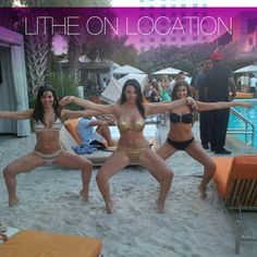 #LitheonLocation: Check out Natalie DiBartolomeo, Nicole Brigati and Brittany (Burkeitt) Rastelli Lithing it up in South Beach.  Here they are in triple Wide Second's in bikini's at SLS Hotel at their pool party at Hyde Beach for Nicole's Bachelorette party.
