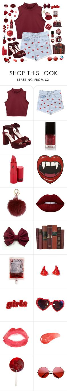 """#92"" by xmarthalunax ❤ liked on Polyvore featuring Miu Miu, Forever 21, Lipstick Queen, MAKE UP STORE, Lime Crime, Polaroid, Kreepsville 666, Moschino, Topshop and Urban Decay"