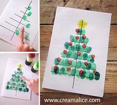 ★ ✄ DIY Carte Sapin Noël Empreinte doigts / DIY Fingerprint Christmas Tree Card ✄ ★