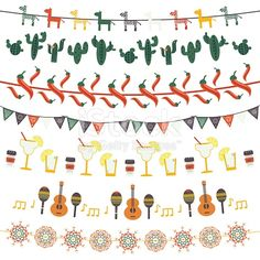 Hanging festive mexican banners, flags, garlands set with traditional Mexican symbols - guitar, maracas, tequila, cactus, pepper, cut out paper banners Vector illustration isolated on white background