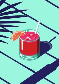drink illustration An Isometric Cocktail Art Print by Coen Pohl Art And Illustration, Cocktail Illustration, Graphic Design Illustration, Graphic Art, Illustrations, Summer Cocktails, Graphic Design Inspiration, Vector Art, Vector Graphics