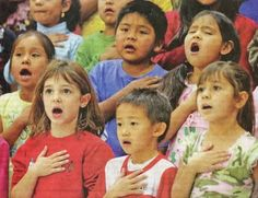 Children Singing (the National Anthem?) - photos to stimulate conversation using action verbs - -  Pinned by @PediaStaff – Please Visit http://ht.ly/63sNt for all our pediatric therapy pins