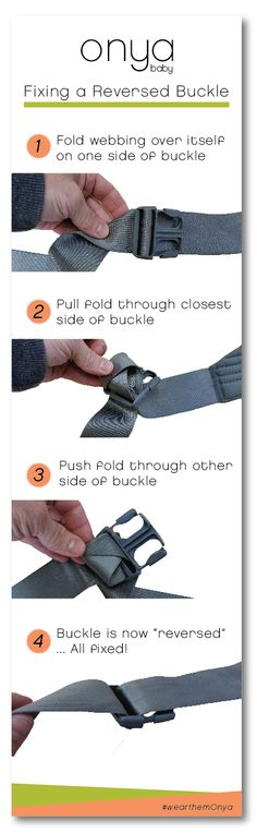 Got a backwards buckle? No problem! Onya Baby shows you how easy it is to fix it! Happy babywearing!