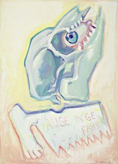 Maria lassnig, Auge_in_Gefahr - the eye, the delineation, skull, paper fragment, teeth. Open mouth of animal is eye.