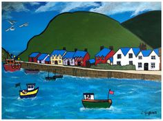 XL Canvas Prints of Fishguard, Tenby & Porthgain Harbours, Pembrokeshire taken from original Lynartwales painting by LynArtWales on Etsy Acrylic Photo Prints, Acrylic Artwork, Acrylic Canvas, Acrylic Paintings, The Ship Inn, Beach Artwork, Original Paintings, Old Things, Canvas Prints