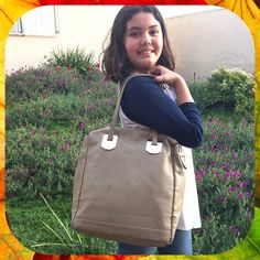 "R+J Medium Beige Pebbled Tote Bag Medium size Romeo & Juliet (R+J) shoulder bag in a dark beige color. Faux pebbled leather with metal plates to attach shoulder straps. Roomy interior with faint staining along the top zipper.  12.5"" x 4.5"" x 13"" high. Strap Drop: 8.5"". In Excellent Condition!  **Bundle with Another Item to Get 15% Off Automatically!** Romeo & Juliet Couture Bags Totes"