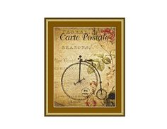 Penny Farthing Bicycle Counted Cross Stitch Pattern / Chart,  Instant Digital Download   (AP198) Counted Cross Stitch Patterns, Cross Stitch Designs, Penny Farthing, Dmc Floss, Digital Pattern, Symbols, Colours, Black And White, Handmade Gifts