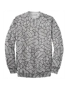 Black and white swirls doodles Sweatshirt by @savousepate on @printalloverme