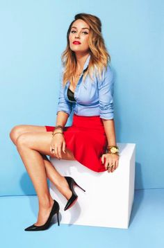 lauren conrad x lucky mag - need to wear a shirt and bra like this!