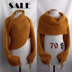 Scarf shawl poncho with sleeves in mustard color. by vinevirak