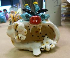 5th Grade - Clay pinch pot monsters.