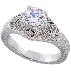 Sterling Silver Vintage Style Cubic Zirconia Engagement Ring Round 1... (1,005 MXN) ❤ liked on Polyvore featuring jewelry, rings, dome ring, sterling silver rings, vintage inspired engagement ring, sterling silver cubic zirconia rings and sterling silver cz rings