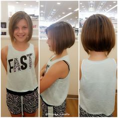 We cut off about 6 inches of hair and gave her a super cute angled bob ☺️