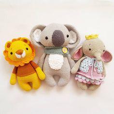 Leo, Pepe und Ava  Pattern in my etsy shop  #amaloudesigns #pattern #anleitung #leoloewe #koalapepe #littleava #amigurumi #amigurumis #amigurumidoll #teddy #teddybear #mitliebegemacht #babygift #handmade #handarbeit #wool #wolle #häkelliebe #häkelnisttoll #chrochetdoll #handmadetoy #handmadedoll