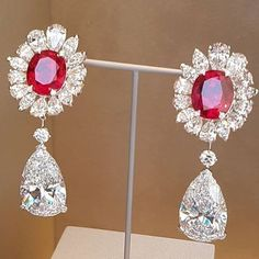 Ruby and Diamond Earrings from Van Cleef And Arpels Jewelry, Van Cleef Arpels, Ruby Earrings, Diamond Earrings, To My Daughter, Daughters, High Jewelry, Pink Sapphire, Red And Pink