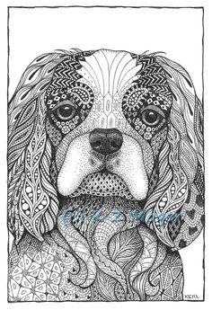 Items similar to Small Breed Dog Portraits- matted print of original drawing- select small breeds on Etsy Dibujos Zentangle Art, Zentangle Drawings, Doodles Zentangles, Zentangle Patterns, Dog Coloring Page, Colouring Pages, Adult Coloring Pages, Coloring Books, Zantangle Art