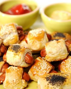 Pigs in a Blanket  -  use sausage instead of hot dogs and make sausage rolls, puff pastry, cheese, onions, seeds.  i think i like the basic recipe but not sure about the rest.  look for a good sausage roll recipe.        lj
