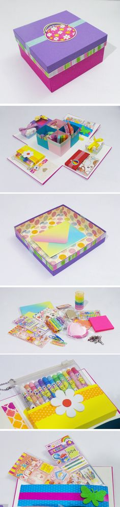 Mini Kit de Papelería súper divertido e ideal para un regalo Craft Gifts, Diy Gifts, Exploding Box Card, Diy Organisation, Craft Box, Beautiful Gifts, Humor, Hobbies And Crafts, Creations