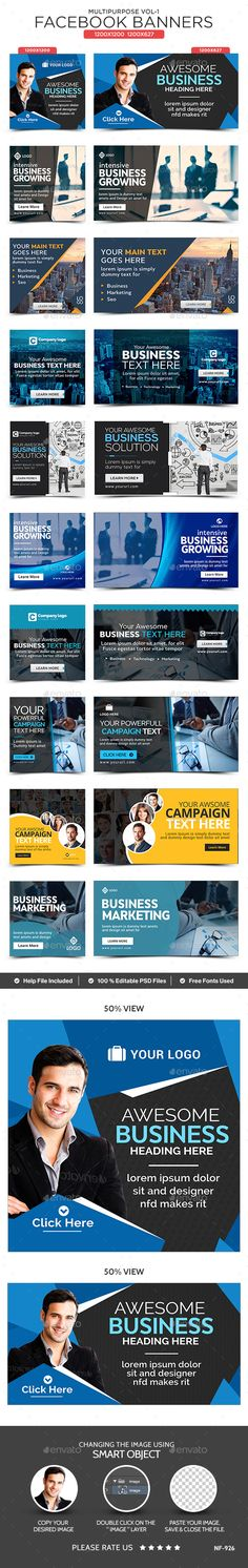 Multipurpose Facebook Banners - 10 Banners - Banners & Ads Web Elements Social Media Ad, Social Media Branding, Social Media Design, Fb Banner, Facebook Banner, Facebook Layout, Marketing, Google Banner, Banner Design Inspiration