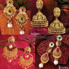 Heavy Look Gold Earrings by GRT | Jewellery Designs