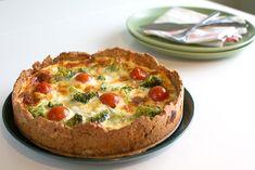 Nyttigare ostpaj med grönsaker och mindre fett Quiche, Veggies, Fett, Breakfast, Gourmet, Morning Coffee, Vegetable Recipes, Vegetables, Quiches