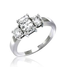 Bling Jewelry Sterling Silver 1.5 ct Emerald Cut CZ Three Stone Engagement Ring MORE SIZES $24.99