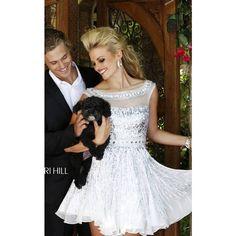 Sherri Hill 8518 White Short Shimmer Homecoming Dress ($225) via Polyvore featuring dresses, shimmer dresses, sherri hill, white dress, white day dress and sherri hill dresses