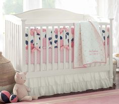 Mallory Nursery Bedding | Pottery Barn Kids - another cute option for a navy and pink nursery!