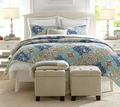 Avery Embroidered Sateen Organic Duvet Cover & Sham | Pottery Barn