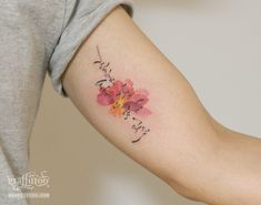 by  , Korean lettering tattoo, , , ,  , watercolor tattoo