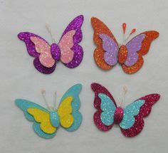 This Pin was discovered by Guz Cork Crafts, Easy Crafts, Diy And Crafts, Crafts For Kids, Arts And Crafts, Paper Crafts, Butterfly Decorations, Butterfly Crafts, Flower Crafts