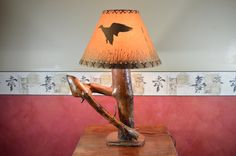 Rustic Pine Lamp Log Desk Lamp Reclaimed Wood   by Vintagetimepast