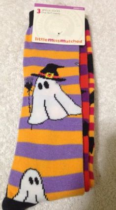 Little Miss Matched Halloween Ghost Socks Kids Size 4-9