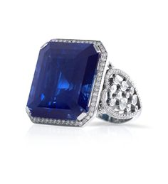 Large Ceylon Sapphire and Diamond Platinum Ring by Boodles