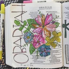 A closeup up Obadiah. Flowers inspired by the amazingly talented Scripture Art, Bible Art, Bible Verses, Beautiful Word Bible, Bible Covers, Book Covers, Doodle Inspiration, Illustrated Faith, Old Testament