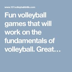 Fun volleyball games that will work on the fundamentals of volleyball.  Great…