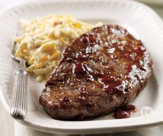 Glazed Steaks & Cheesy Potatoes - Steak and potatoes - there is nothing better!