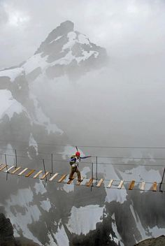 Sky Walking in Mt. Nimbus, Canada .