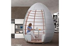 Nu-Ovo by Tissettanta is a mobile home pod solution allowing the creation of a space within a space in any place you like. Use it to create a home office Home Office, Office Decor, Office Workspace, Office Cube, Office Furniture, Cool Furniture, Furniture Design, Outdoor Furniture, Multifunctional Furniture
