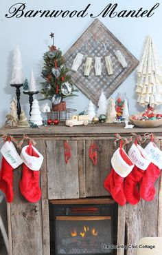 My DIY Barnwood Mantel    Come See What My Hubby Made Me For Christmas!